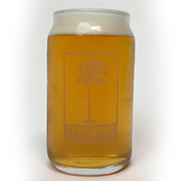 Whirlpool Galaxy Double IPA is served in a beer can glass filled as a light bodied looking beer from Lost Winds Brewing near Dana Point, California