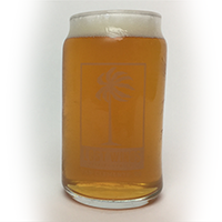 Pure California Double IPA is served in a beer can glass filled with a light looking IPA beer from Lost Winds Brewing Company in SC