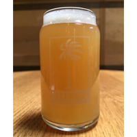 Hazy Fo Days IPA is served in a beer can glass as an unfiltered light bodied Hazy IPA from Lost Winds Brewing in near San Juan Capistrano